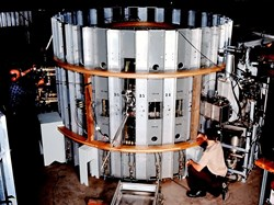 The Adiabatic Toroidal Compressor investigated a technique for increasing the temperature and density of tokamak plasmas during the 1970s. (Click to view larger version...)